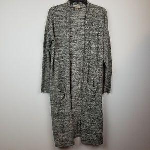 LOFT gray long open front cardigan size large